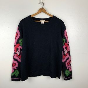 Sundance Black Wool Blend Floral Sweater M
